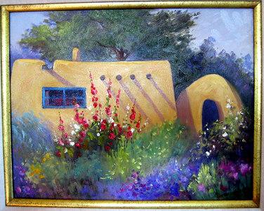 """Taos Adobe & Hollyhocks"" Pamela Gill (Oil on canvas, 1999)"