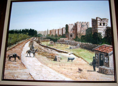 """Old Wall, Istanbul"" Gene Pitman (Oil on canvas, 1986)"