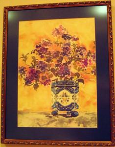 """Hydrangeas in A Blue Vase"" Linda Jardack (Watercolor on paper, 1987)"