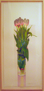 """Pink Tulips"" Gary Bukovnik (Watercolor on paper, 1988, acq 2005)"