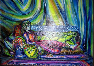 """""""Girl Reclining"""" Julie Rebouche (Oil on canvas, 1994)"""