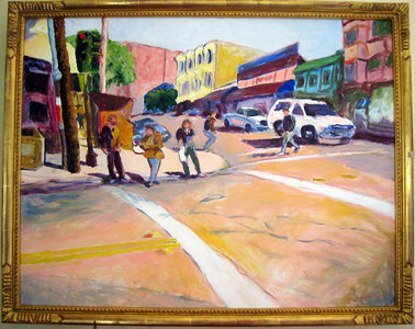 """Market at Sanchez"" Tom Schwabenlander (Oil on canvas, 1998, acq 2000)"