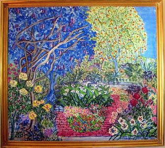 """Garden at 953 Haight Street"" Julie Rebouche (Oil on canvas, 1999)"