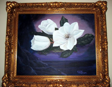 """Magnolia Blossoms From The Tree On Maple St"" Gene Pitman (Oil on canvas, 1989)"
