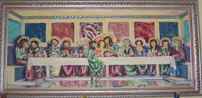 """Last Supper Androgynous"" Julie Rebouche (Oil and acrylic on canvas with matching frame, 1995)"