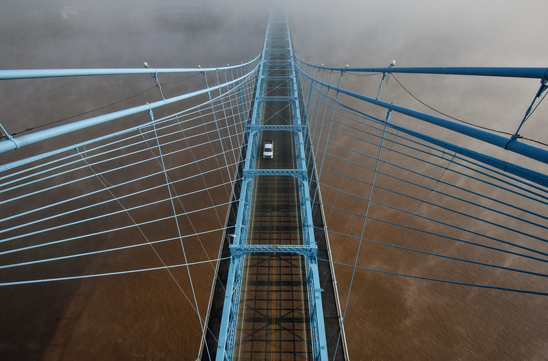 Roebling Suspension Bridge - Foggy Morning