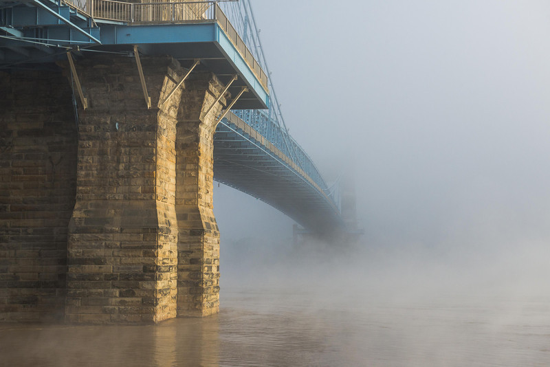 Roebling Suspension Bridge Into the Fog Roebling Suspension Bridge - Foggy Morning