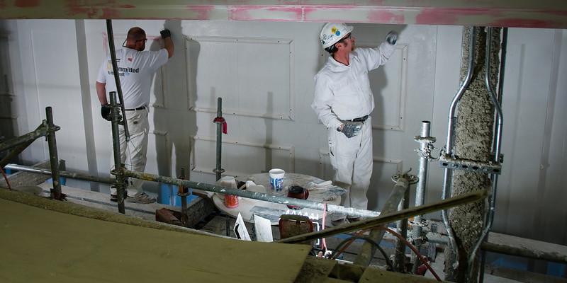 Plaster Craftsmen working on details in The Palladium, Carmel, IN