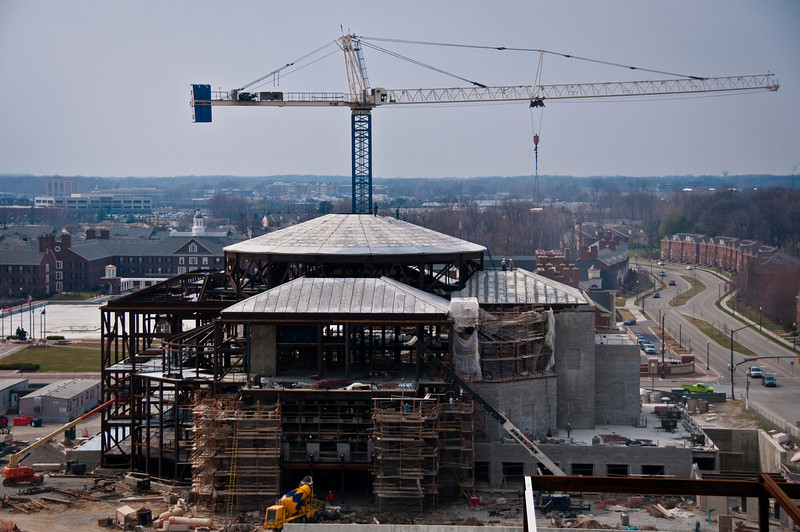 """Setting 10"""" thick solid precast concrete roof panels on The Palladium - Carmel, IN"""