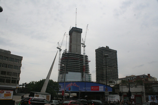 Sunday 15 August 2010<br /> <br /> The Shard is growing, with floor 37 now showing on the central block, with the cladding rising. Its domination of the area, including the adjacent Guys Tower, part of Guys Hospital, is evident.