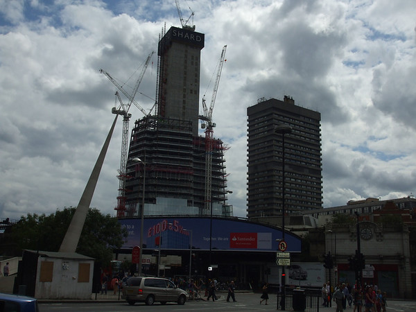 Sunday 1 August 2010<br /> <br /> The Shard is growing, with floor 36 now showing on the central block. Its domination of the area, including the adjacent Guys Tower, part of Guys Hospital, is evident.