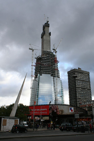 Sunday 7 November 2010<br /> <br /> The external structure of The Shard has now reached the top of the first stage of the central core, now above the height of the adjacent Guys Tower. The core has now reached floor 60 and is got narrower.<br /> <br /> The advertisement on the railway leading into the high level platforms of London Bridge is currently showing the 2010 Poppy Appeal.