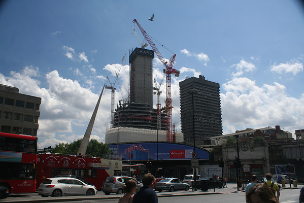 Sunday 11 July 2010<br /> <br /> Fourteen days since the last image of the shrinking building. In the same time the central core of the Shard has grown by three floors.<br /> <br /> The other block, next to The Shard is Guys Tower, part of Guys Hospital.