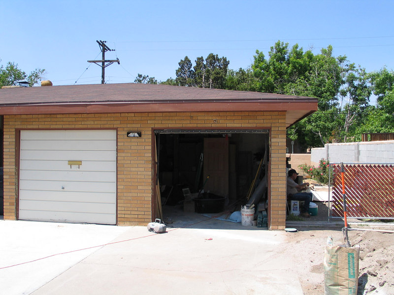 garage filled w/ building materials