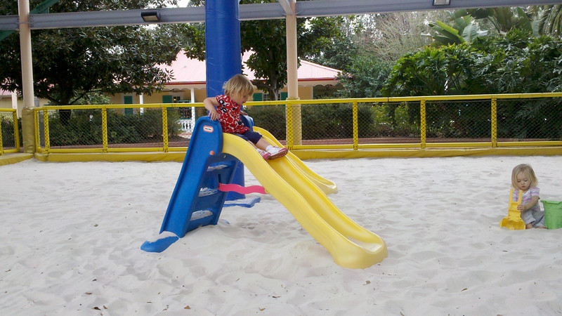 zia underneath the nets on the slide