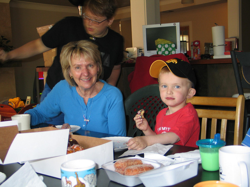 Grandma Eileen and Cooper at our impromptu donut festival on graduation weekend.