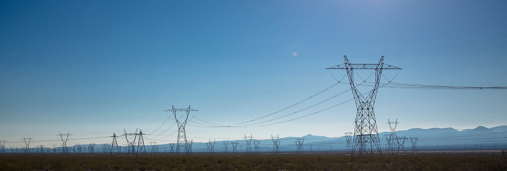 A field of electric power lines coming from Hoover Dam.  Boulder City, NV
