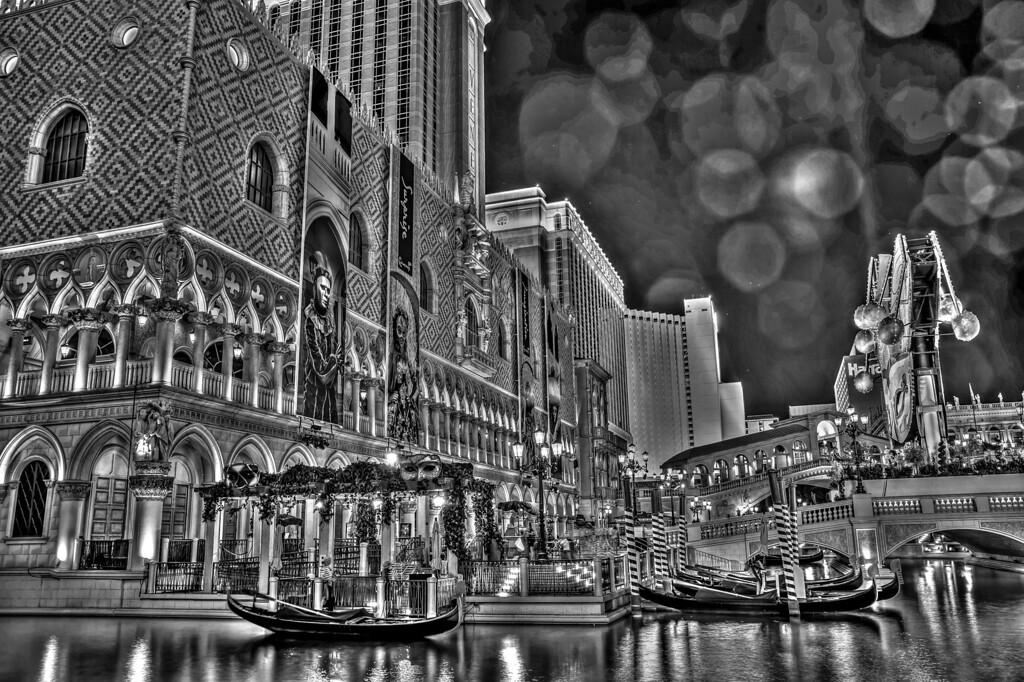 Venetian in black and white.  Las Vegas, NV