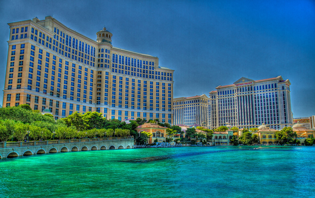 Classic shot of Bellagio and Caesars Palace.  Las Vegas, NV