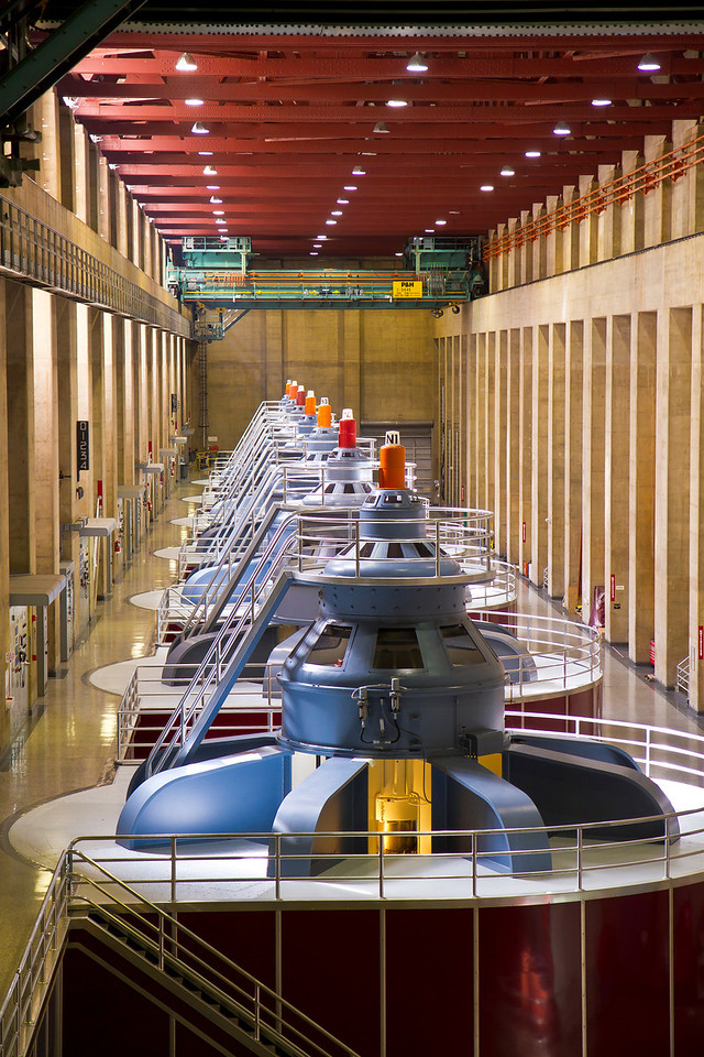 Inside the Nevada side of the power plant.  Hoover Dam, NV