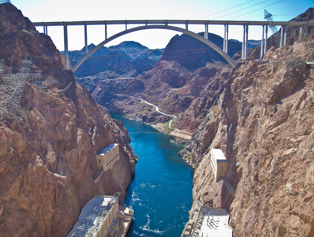 Colorado River below the Hoover Dam and the new bridge that crosses it instead of making you drive across the dam.  Hoover Dam, NV