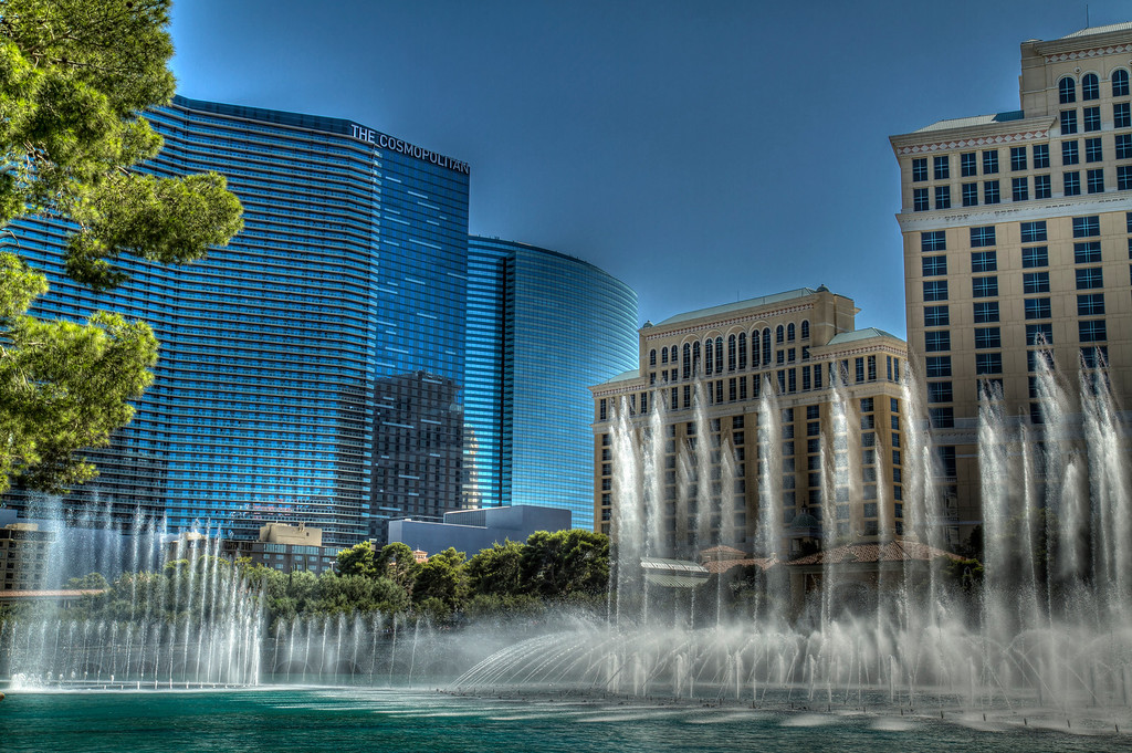 Capturing moving fountains in HDR...tricky.  Las Vegas, NV