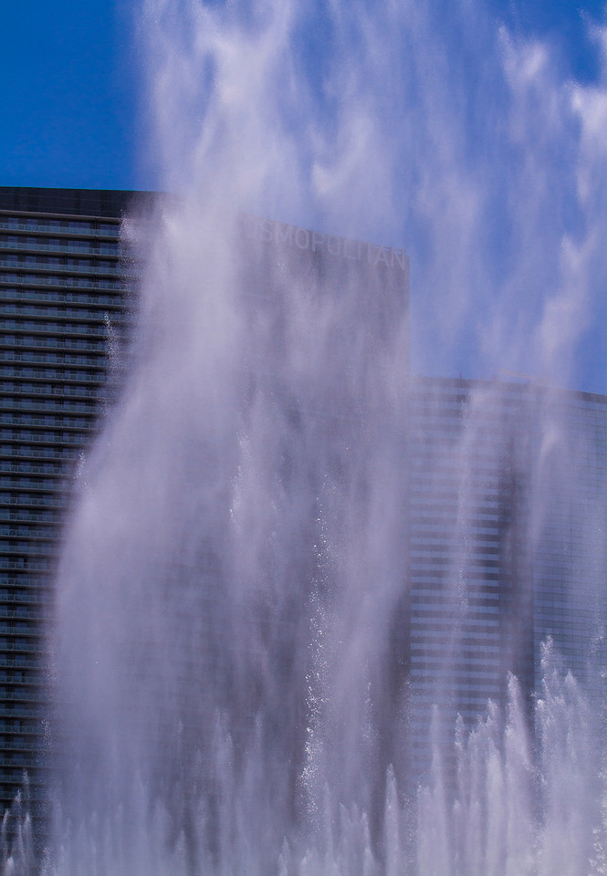 Fountains on a hot summer day.  Las Vegas, NV