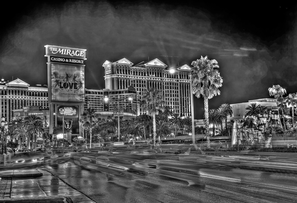 View of Caesar's Palace in black and white, Las Vegas, NV
