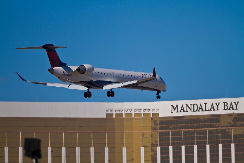 Delta Connection flight headed to Mandalay Bay, Las Vegas, NV