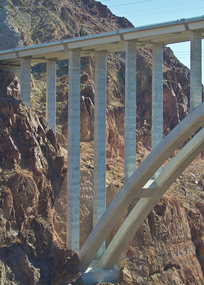 Bridge cross Colorado River at the Hoover Dam, new as of the last 3 years.  Hoover Dam, AZ