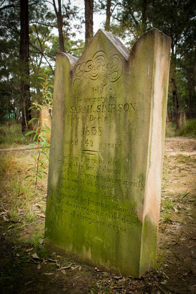 Grave of Sarah Marshall (married posthumously to John Simpson), who was murdered in 1838 and is sometimes said to haunt the area.