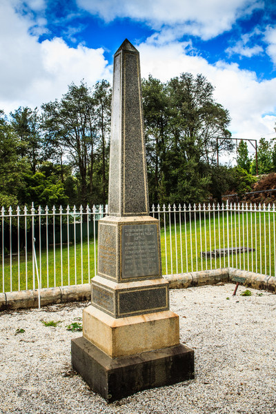 Faulconbridge, Blue Mountains, NSW, Australia<br /> The Parkes Obelisk, Faulconbridge Cemetery. Marking the burial place of Sir Henry Parks - 'The Father of Federation'. His first wife, Clarinda, is also buried in this enclosure.