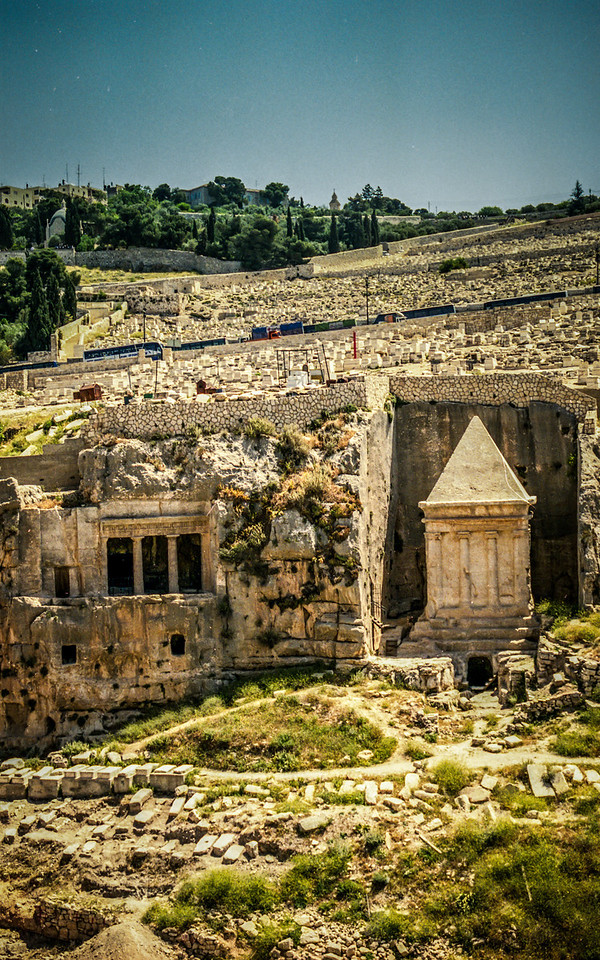 Jerusalem, Israel<br /> The Tomb of Benei Hezir (left of photo) and The Tomb of Zechariah.