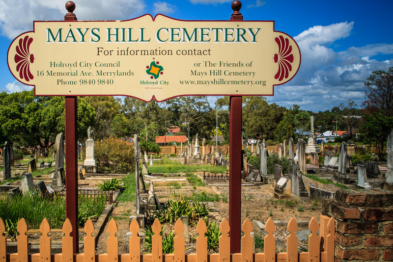 Mays Hill, Sydney, NSW, Australia<br /> Mays Hill Cemetery. Formerly part of the Governor's Domain, later purchased by Thomas May, the cemetery began as two separate cemeteries (one Protestant, one Baptist) in 1839 with the first burial taking place in 1843.