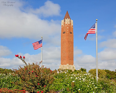 Water Tower at Jones Beach State Park. The American Flags are part of a 09-11-01 Memorial there.