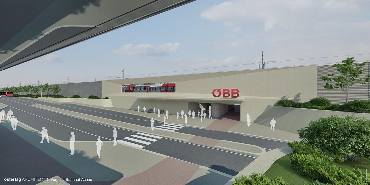 Bahnhof Achau Vorplatz