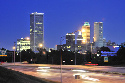 Downtown Tulsa looking across highway 75 from the Union street bridge