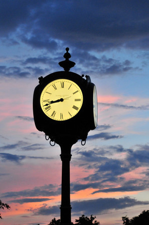 The centinial clock in Sand Springs triangle.