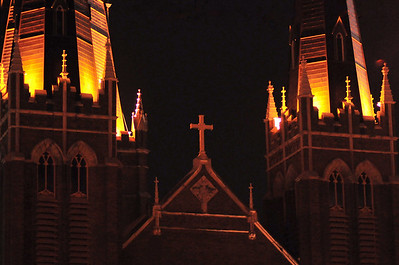 Top of a church in downtown Tulsa gothic