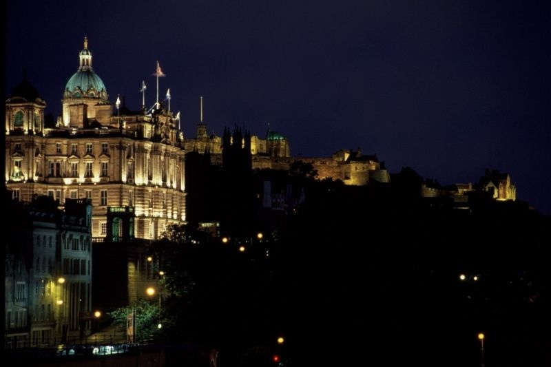 Edinburgh Castle and Bank House night scene