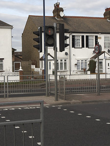 Street crossing in front of our hotel to English row houses just across the street from Heathrow.