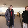Tour of renovated and expanded Coburn Hall at UMass Lowell South Campus, originally the Lowell Normal School, founded to train teachers. Dean of the College of Education Eleanor Abrams, left, and chancellor Jacqueline Moloney, in one of the new classrooms. (SUN/Julia Malakie)