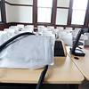 Tour of renovated and expanded Coburn Hall at UMass Lowell South Campus, originally the Lowell Normal School, founded to train teachers. Smart classroom technology in one of the new classrooms in the original building. (SUN/Julia Malakie)