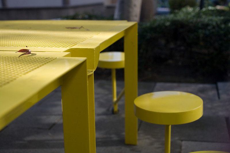 I loved these funky tables and chairs outside Watt Hall at USC.  The yellow really popped, and the design was funky and fun.