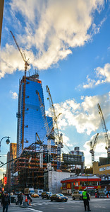 10 Hudson Yards under construction rising above 30 Hudson Yards along 10th Avenue on Manhattan's West Side , taken on November 13,2015