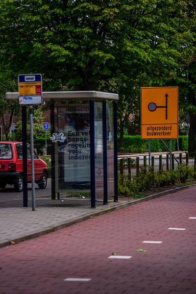 Zaandam, The Netherlands<br /> Bus stop, with construction work to the left (not shown). Sign reads 'except construction traffic'.