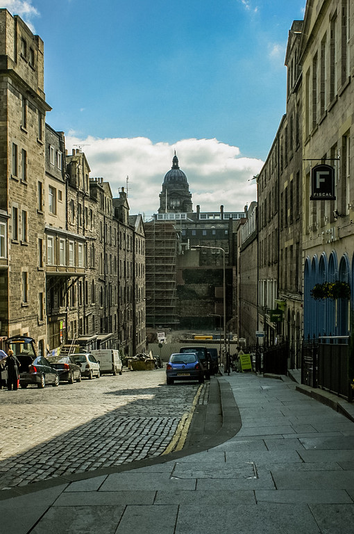 Edinburgh, Scotland<br /> Looking down Blair Street after the fire. Cowgate at the bottom of the hill, with the dome of the Old College in the distance.
