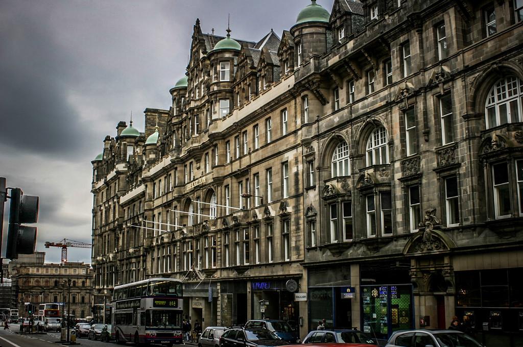 Edinburgh, Scotland<br /> The Carlton Hotel on North Bridge, with the Waverley Gate construction in the distance.