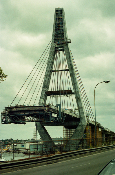 Glebe, Sydney, Australia<br /> The Anzac Bridge (Under Construction), next to the Glebe Island Bridge (no longer used).