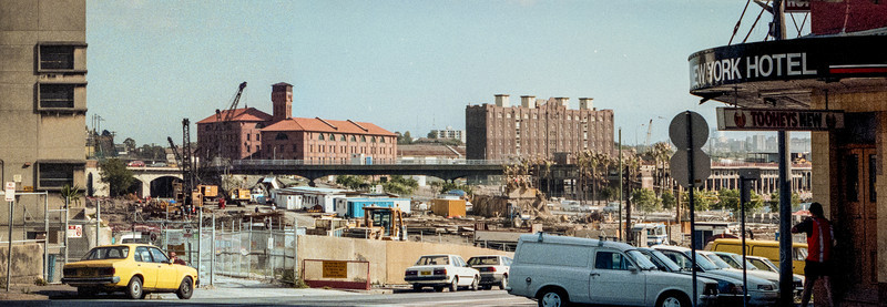 Pyrmont, Sydney, NSW, Australia<br /> Edward St in January 1995, shortly after demolition of the Pyrmont Power Station. From left to right : The Sydney Electricity building (demolished shortly after this photo was taken), two buildings from the former Royal Edward Victualling Yard, and the New York Hotel.